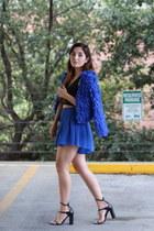 blue furry Princess Polly jacket - blue sheer asos shorts