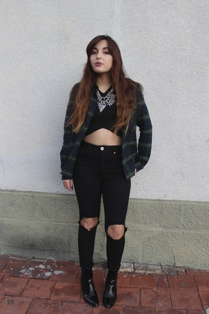 black Zara boots - black asos jeans - forest green plaid Zara shirt