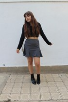black crop top Teen Vogue blouse - black Zara boots - Forever 21 purse