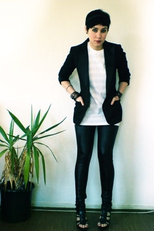 H&M blazer - aa shirt - Vero Moda leggings - Zara shoes
