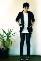 H&M blazer - aa shirt - Vero Moda leggings - Zara shoes