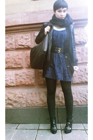 Camden dress - Zara shoes - Drykorn jacket - bfs scarf - Topshop vest