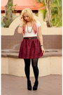 Black-express-tights-maroon-charlotte-russe-skirt-off-white-t-shirt