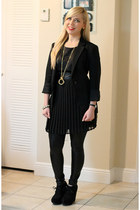 black Trixxi dress - black Forever21 leggings - black Zara blazer