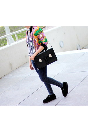 black satchel vintage bag - black platform Underground shoes