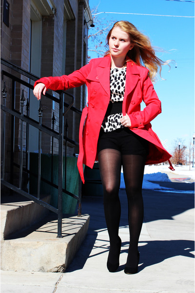hot pink Bebe coat - black Steve Madden heels - white H&amp;M top