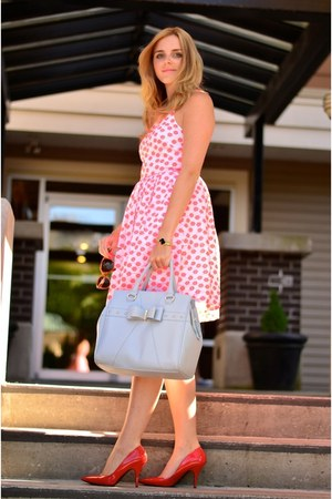 light blue bow material girl purse - hot pink floral dress J Crew dress