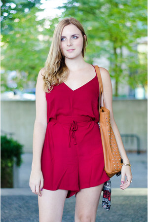 brick red romper Lookbook Store romper - navy ankle boots Aldo boots