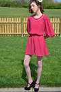 Pink-vintage-dress-bubble-gum-vintage-from-etsy-dress-beige-zara-tights