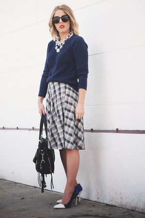 charcoal gray vintage skirt - blue J Crew via Crossroads sweater