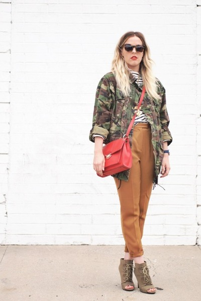 brown Karen Walker sunglasses - olive green kohls boots - navy J Crew shirt