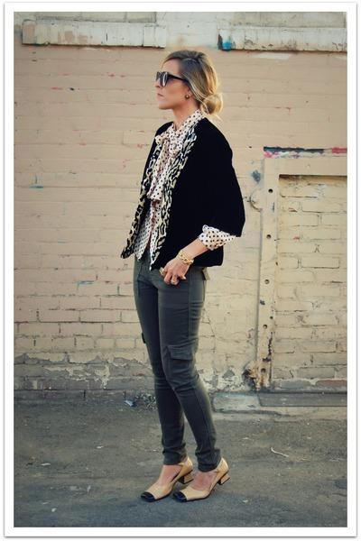 eggshell vintage blouse - black vintage jacket - olive green Forever 21 pants -