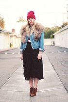 brown Colin Stuart boots - ruby red Target hat - blue vintage jacket