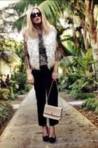 fur vintage vest - Chanel Vintage bag - velvet vintage pants