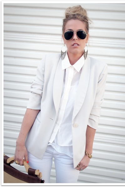 white Crossroads Find jeans - white thrifted blazer - white QSW shirt
