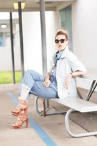 brown Karen Walker sunglasses - light blue Tibi jacket