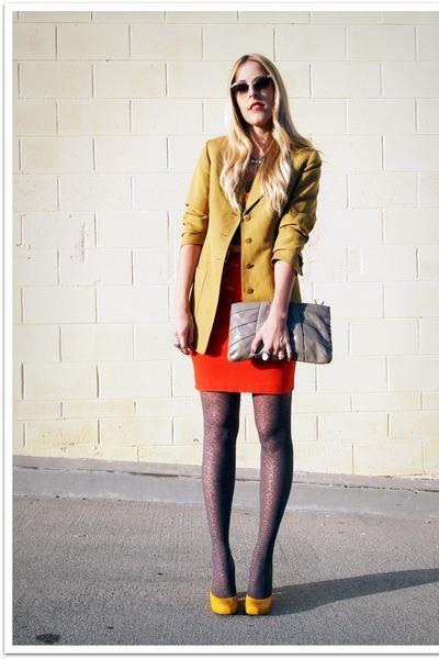 mustard vintage blazer - charcoal gray DKNY via Hoseanna tights - red Dee Lux sk