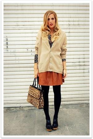 tan vtintage cardigan - dark brown thrifted cardigan - tawny Quail Vintage skirt