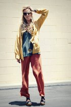 mustard vintage jacket - tawny thrifted pants - olive green Crossroads Find top