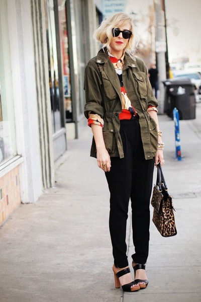 army green army surplus jacket - brick red Brooks Brothers blouse