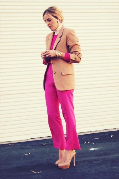 hot pink crewneck thrifted sweater - camel thrifted blazer
