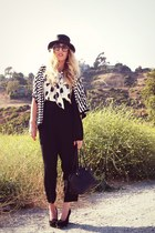 white polka dots Zara via Crossroads blouse - black H&M hat