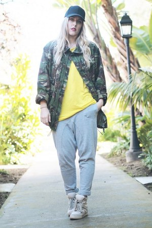 dark green Army Navy jacket - yellow Zara t-shirt - silver Crossroads Find pants