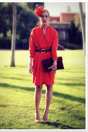 carrot orange thrifted vintage dress - carrot orange Michaels hat - crimson thri