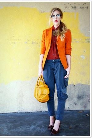 carrot orange Vintage Gaultier blazer - brick red crossroads shirt - gray Repeat