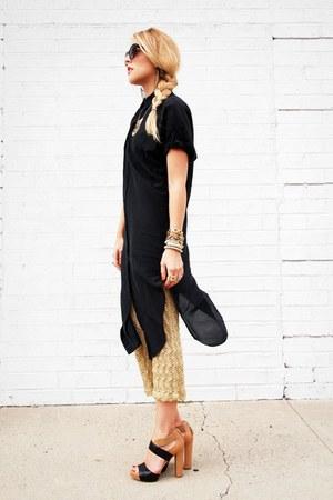 gold thrifted vintage dress - black QSW blouse - camel Nine West sandals