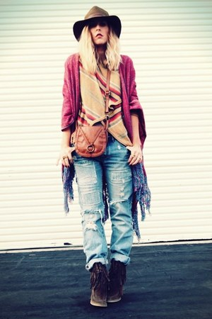 stripes JCPenney cardigan - QSW jeans - Forever 21 hat - Forever 21 bag