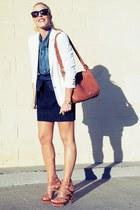 brown rachel rachel roy sandals - white vintage blazer - brown coach bag