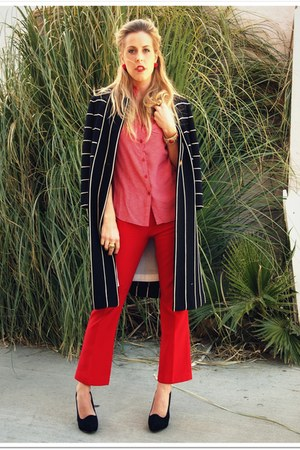 black Swapped Vintage coat - ruby red thrifted vintage pants - salmon QSW blouse