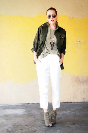 olive green kohls boots - army green army surplus jacket - olive green J Crew t-