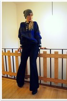 navy vintage sweater - black Forever 21 pants - black Jeffrey Campbell boots