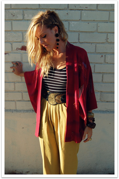 red Ramona West Vintage jacket - black Forever 21 shirt - green vintage pants -