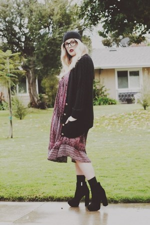 black Dolce Vita boots - maroon vintage dress - black H&M hat
