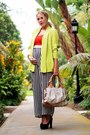 Chartreuse-vintage-blazer-white-brahmin-bag-red-h-m-t-shirt