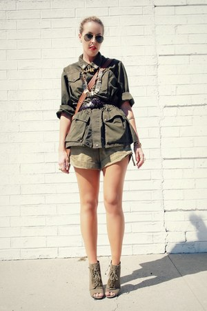 olive green kohls boots - army green army surplus jacket - dark brown coach bag