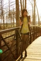 BCBG top - f21 vest - BCBG shorts - H&M stockings - nicole miller shoes