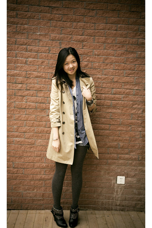 beige Burberry coat - gray H&M tights - blue H&M blouse - black From China shoes
