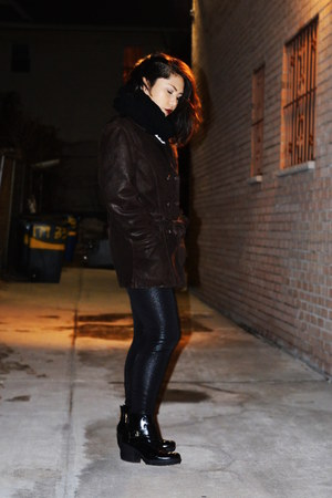 black leggings - dark brown faux leather vintage coat