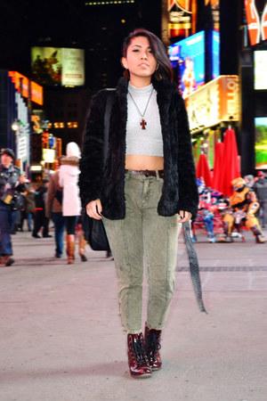 black faux fur H&M coat - heather gray turtleneck asoscom top