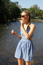 Sky-blue-the-whitepepper-dress-brown-urban-outfitters-sunglasses