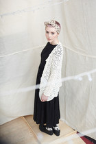 ivory THE WHITEPEPPER cardigan - black THE WHITEPEPPER dress