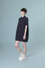 Navy-pleated-shirt-the-whitepepper-dress