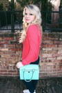 Coral-knit-urban-outfitters-sweater-aquamarine-girly-kate-spade-bag