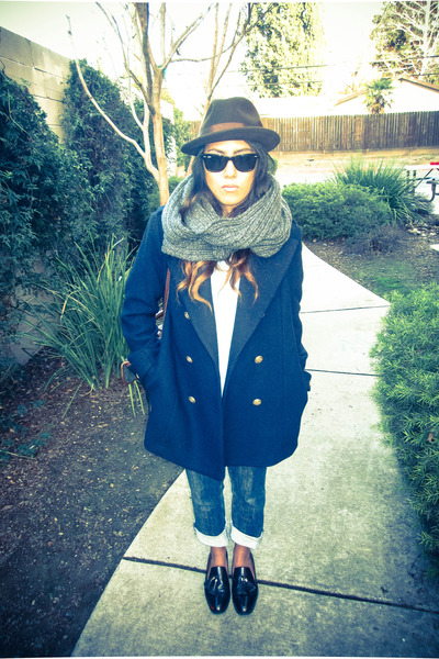 blue denim Diesel jeans - navy H&M coat - dark brown Bailey hat - gray H&M scarf