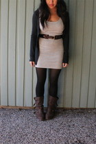 grey ribbed H&M dress - black opaque Target tights - brown buckle Urban Outfitte