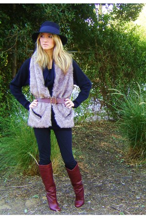 brown boots - black sweater - black leggings - beige scarf - brown belt